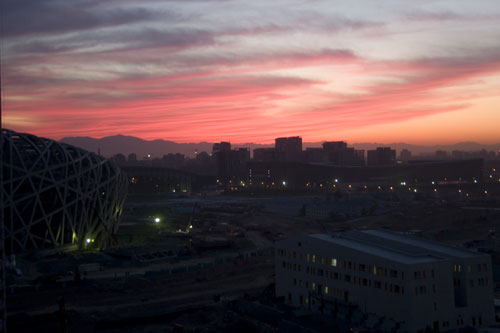 Sunset over the National Stadium, Beijing, China.